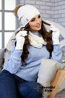 Комплект шапка, снуд и перчатки Катарина