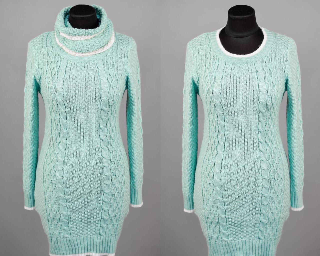 """Элегантный женский свитер воротник-хомут """"Шерстяная нить"""" 44, 46, 48 размер норма"""