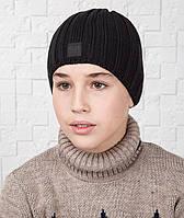 Зимняя вязаная шапка для мальчика подростка на флисе - Арт AL17042