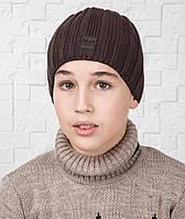 Вязаная шапка для мальчика подростка на флисе - Арт AL17042