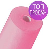 Одноразовые простыни в рулонах 0,6х100 метров 20 мкм/м2, медицинские, для защиты поверхностей, розовые