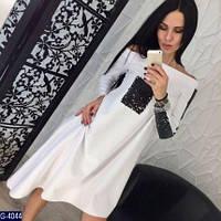 Стильное белое ассиметричное платье с черными паетками. Арт-12646