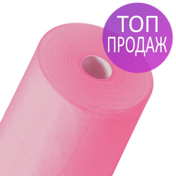 Одноразовые простыни в рулонах 0,6х200 метров 20 мкм/м2, медицинские, для массажных кабинетов, розовые