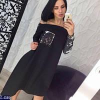 Стильное черное ассиметричное платье с паетками. Арт-12646