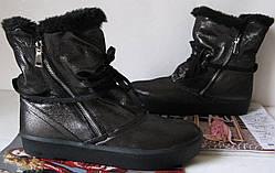 Sofi зима 2017-2018! Стильные женские сапоги угги кожа чёрные мех ботинки Софи