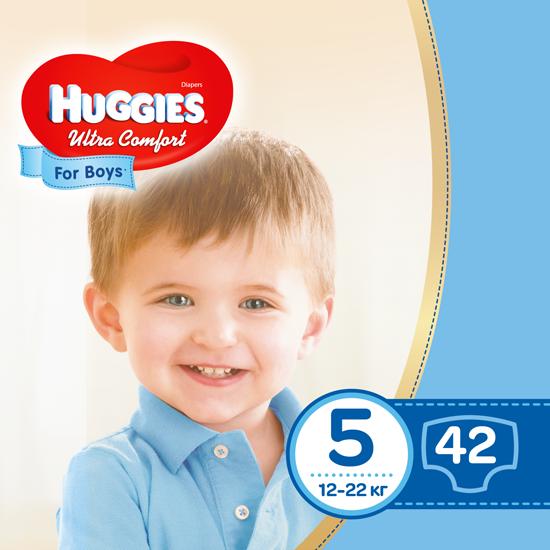 Подгузники Huggies Ultra Comfort 5 для мальчиков (12-22 кг), 42шт.