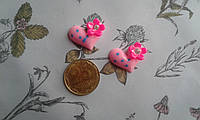 Кабошон - сердечко - серце розове з голубим горошком