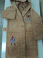 Халат для мальчика хлопок  3-4, 5-6, 7-8 лет Спайдермен бежевый