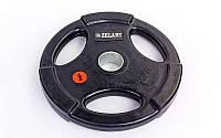 Блины (диски) обрезиненные с хватом с метал.втулкой отв. d-51мм Z-HIT 10кг (черный) Распродажа