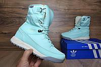 Кроссовки женские Adidas Terrex 2 Зимние. Кожа Мех 100% Бирюзовые