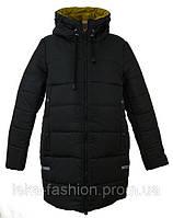 Женская зимняя куртка длинная цвет черный