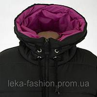 Женская зимняя куртка длинная цвет черный с малиновым