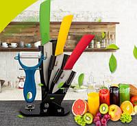 Кухонные керамические ножи на подставке (набор 3 ножа+чистилка)