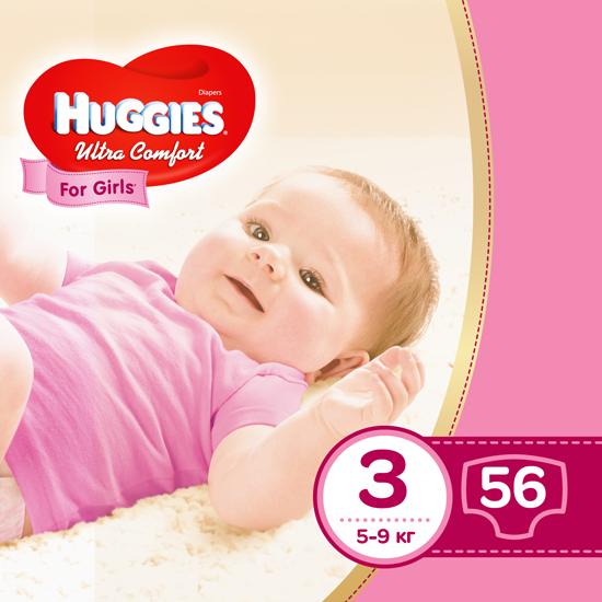 Подгузники Huggies Ultra Comfort 3 для девочек (5-9 кг), 56шт.