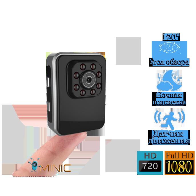 Мини видеокамера R3 1920x1080 с мощной ночной подсветкой