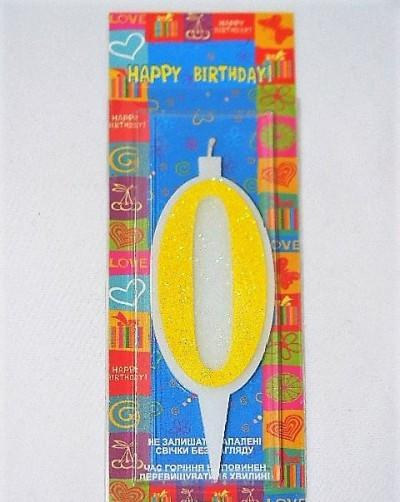 Свічка цифра Нуль 10см жовта