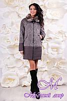 Женское комбинированное зимнее пальто (р. 44-56) арт. 1059 Тон 105