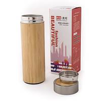 Металевий Термос з бамбуковим покриттям
