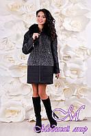 Черное стильное зимнее пальто (р. 44-56) арт. 1059 Тон 110