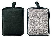 Мочалка банная, массажная в форме блока черная TITANIA 7720