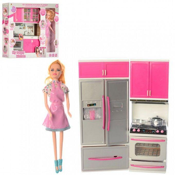 Мебель 7922-1-2  кухня-звук, свет, кукла 28 см, посуда, на бат-ке (таб