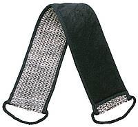 Мочалка банная, массажная в форме ремня черная TITANIA 7724