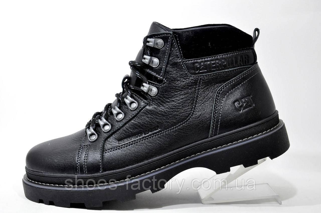 Зимние ботинки в стиле Caterpillar Winter, кожаные (Black)