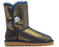 Женские угги UGG Bailey Button Bling Metallic Blue/Gold