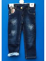 Теплые красивые  джинсы для девочки на махре 1-3 года