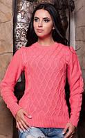 Коралловый шерстяной свитер женский