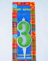 Свеча цифра Три 10см зеленая