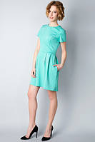 Трикотажное мятное платье с карманами П164