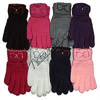 Перчатки подростковые полуторные +начес для девочек Корона от 12 лет Оптом 5636
