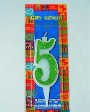 Свеча цифра Пять 10см зеленая