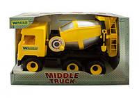 Детская машина middle truck wader 39493 бетономешалка желтая