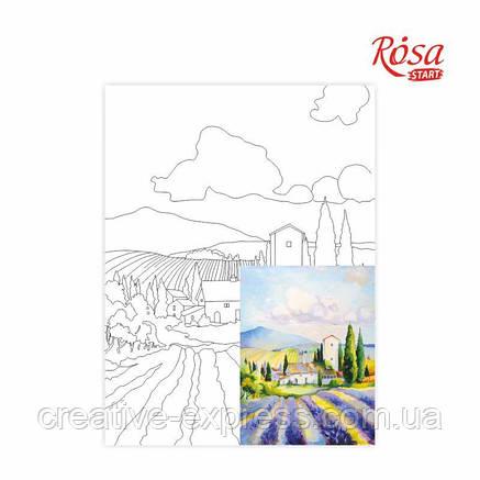 Полотно на картоні з контуром, Пейзаж №20, 30*40, бавовна, акрил, ROSA Talent, фото 2
