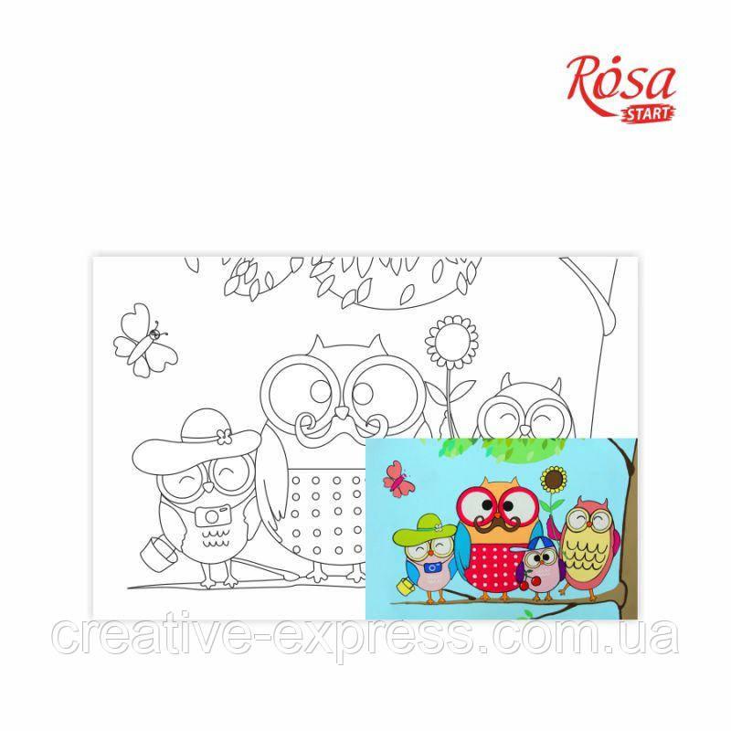 Полотно на картоні з контуром, Мультфільм №27, «Совина родина», 20*30, бавовна, акрил, ROSA Talent