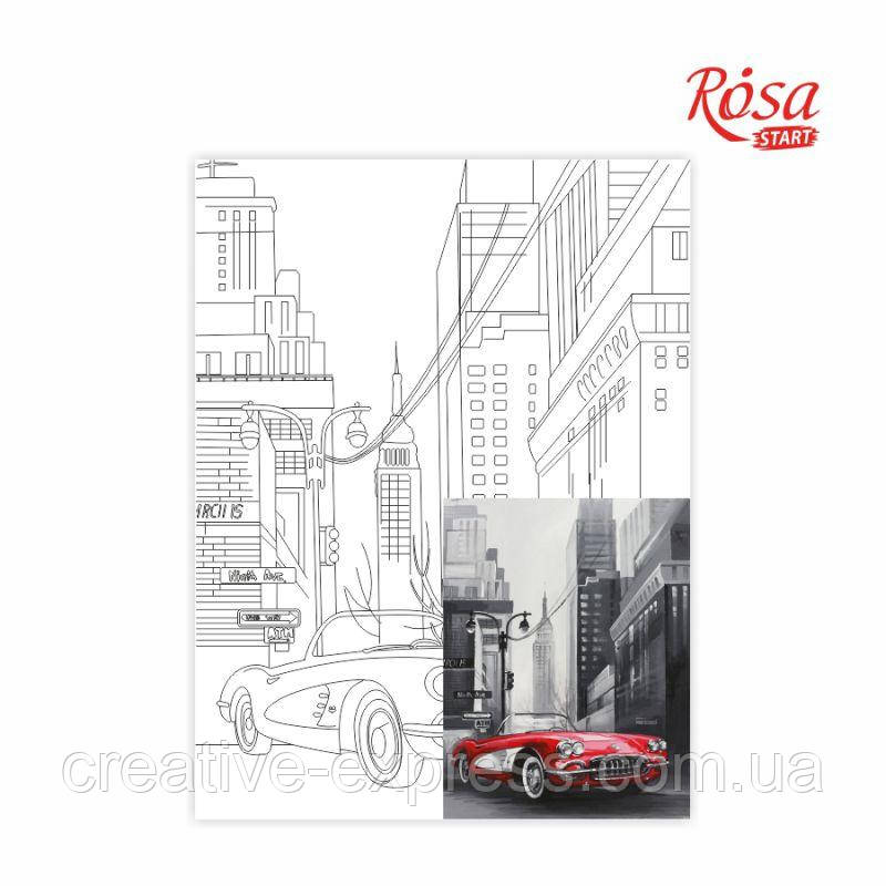 Полотно на картоні з контуром, Пейзаж №27, 30*40, бавовна, акрил, ROSA START