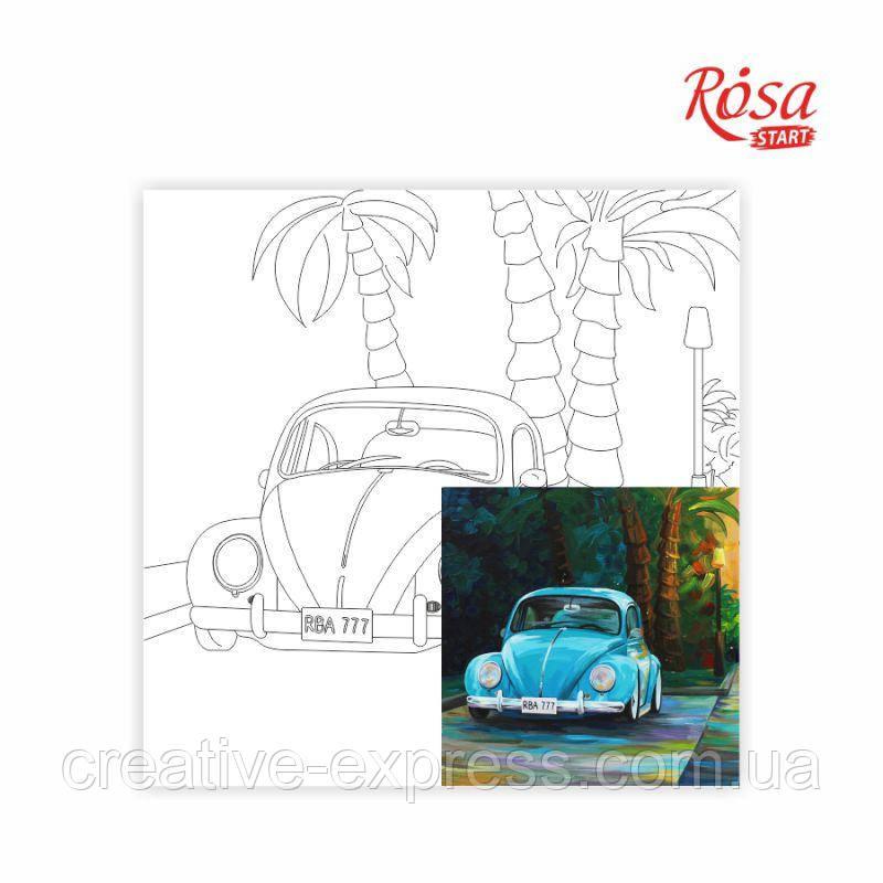 Полотно на картоні з контуром, Пейзаж №28, 30*30, бавовна, акрил, ROSA START