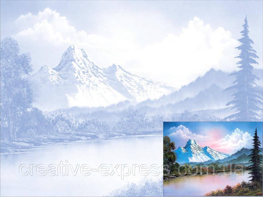 Полотно на картоні з ескізом, Пейзаж № 1, 30*40, бавовна, акрил, ROSA Talent