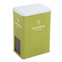 Банка для чая зеленая GUT с окошком ( д151мм х ш101мм х в211мм)