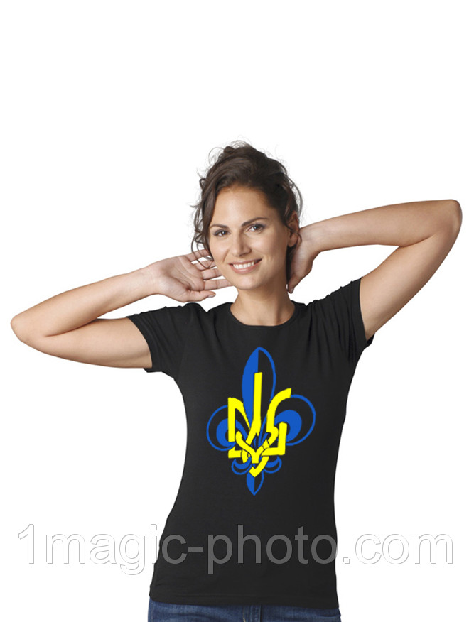Футболка патріотична Герб Украины цветок