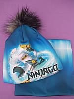 "Комплект с 3D картинкой  ""Ниндзяго-2"" шапка+снуд, фото 1"