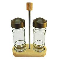 Набор для специй стеклянный на деревянной подставке ТМ EverGlass (2предмета)