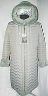 Зимнее пальто больших размеров 50-62 на тройном синтепоне украшено мехом оливкового цвета