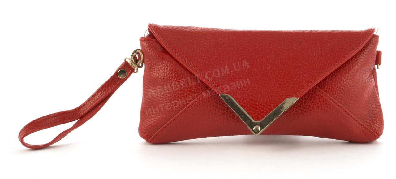 6d64af780c47 Небольшая сумочка клатч с ремешком на руку и плечевым ремнем красного цвета  уголок