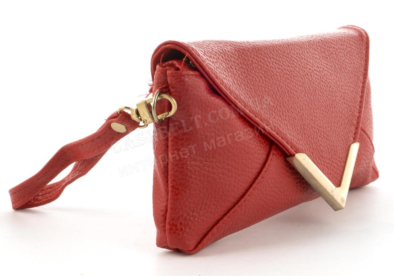 fa1f913dfe93 Небольшая сумочка клатч с ремешком на руку и плечевым ремнем красного цвета  уголок, ...
