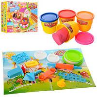 Пластилин торт, 4 цвет (баночки с крышкой), формочки, инструмент, в коробке