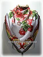 Кашемировый платок Фантазия, белый с зелёным