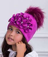 Элегантная шерстяная шапочка для девочки Зося